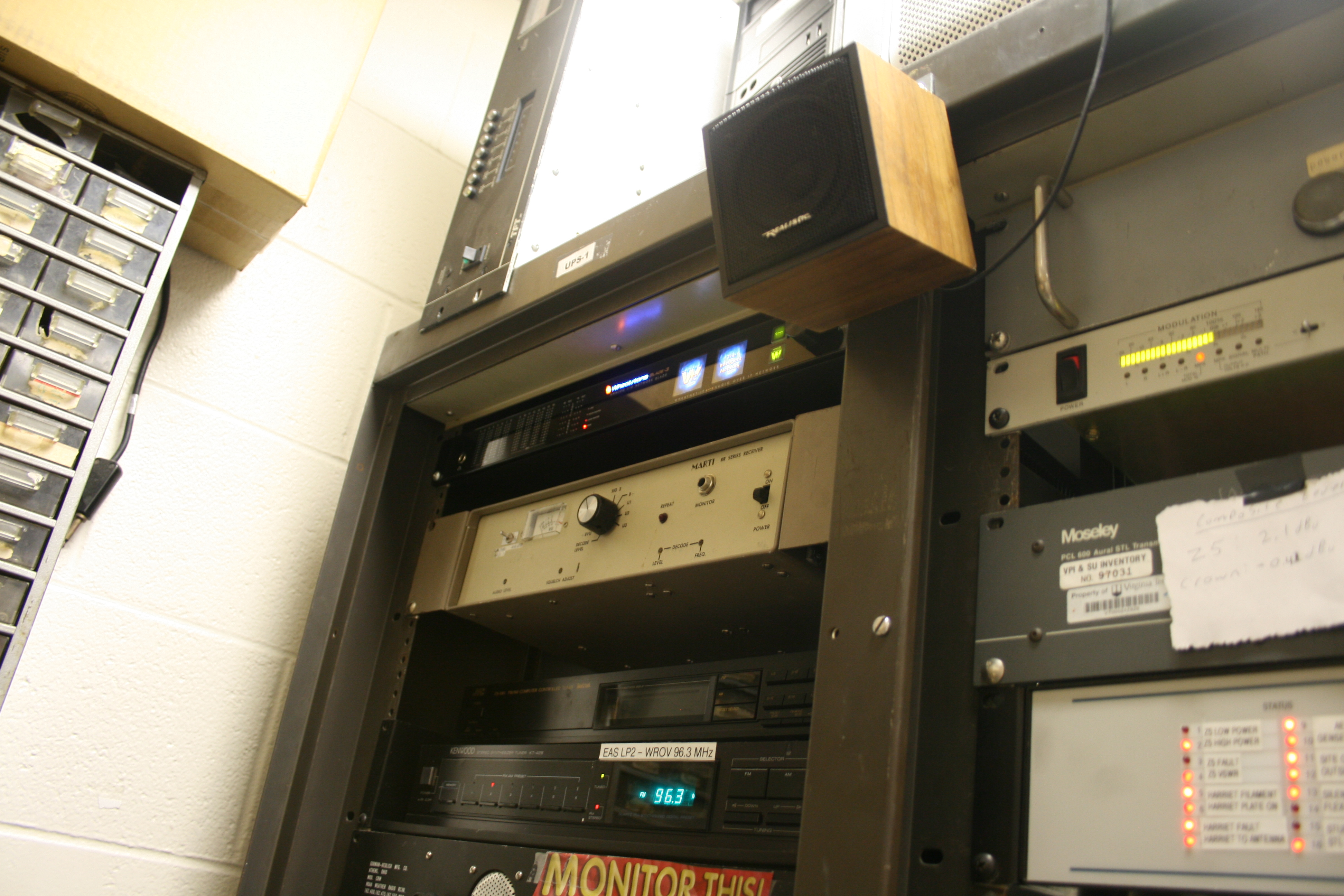 a photo of the engineering rack with one of the IP blades installed