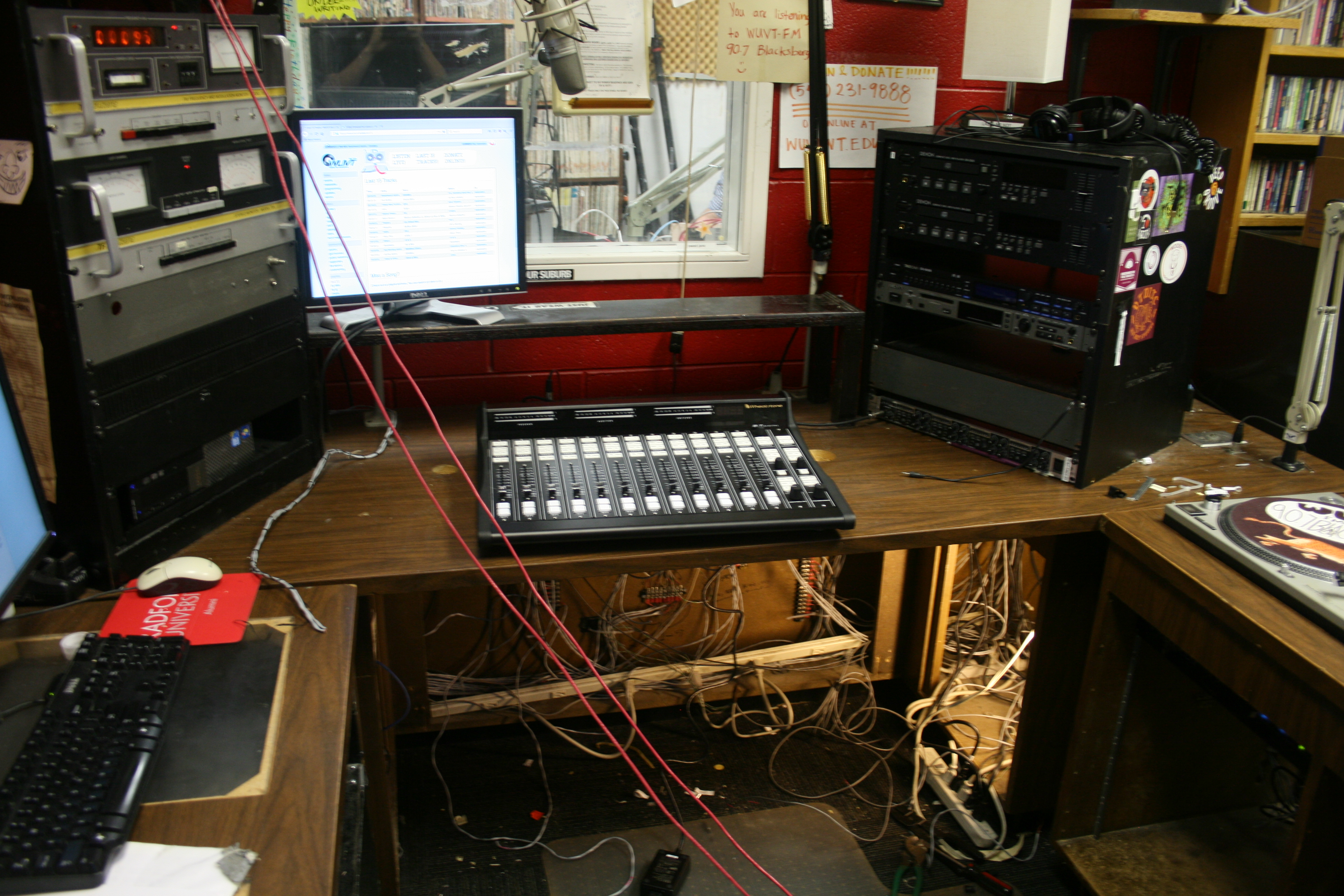 a photo of the FM studio with the new board on the desk