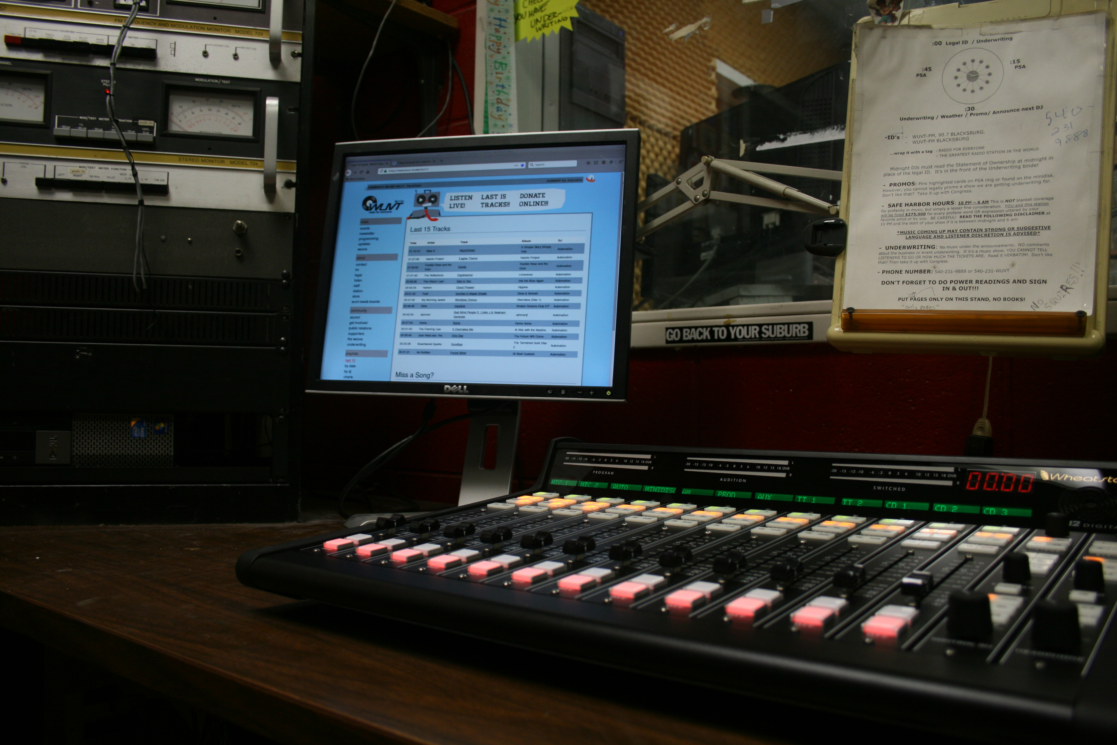 a photo of the new FM audio board in the studio
